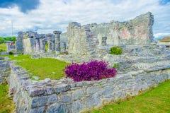 Майяские руины кроме карибского моря Майя Ривьеры, путешествуя Америка стоковое изображение