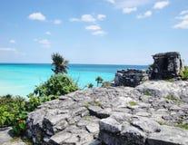 Майяский пляж руин Стоковые Изображения RF