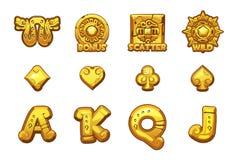 МАЙЯ мультфильма прорезает золотые значки Старые мексиканские символы вектора мифологии Казино игры, слот, UI иллюстрация штока
