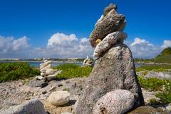 Майя Ривьеры пирамиды из камней залива Akumal штабелированный камнем Стоковое Фото