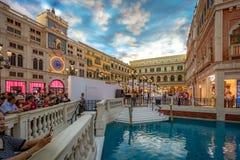 Макао, Китай - 23-ье апреля 2019: Венецианский интерьер казино стоковые изображения