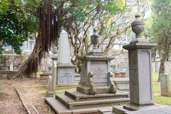 МАКАО - 13-ое декабря 2015: Кладбище протестанта (место всемирного наследия) A Стоковое Фото