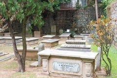 МАКАО - 13-ое декабря 2015: Кладбище протестанта (место всемирного наследия) A Стоковая Фотография