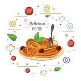 Макаронные изделия блюда очень вкусной еды итальянские и карточка вилки иллюстрация вектора