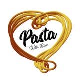 Макаронные изделия вектора в форме сердца Традиционное блюдо итальянской кухни Стоковое Изображение RF