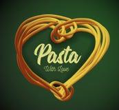 Макаронные изделия вектора в форме сердца Традиционное блюдо итальянской кухни Стоковая Фотография RF