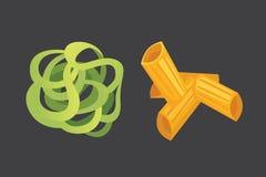 Макаронные изделия вектора установленные итальянские в стиле шаржа Разные виды и формы макарон с Равиоли, спагетти, tortiglioni Стоковая Фотография