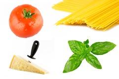 макаронные изделия итальянки ингридиентов коллажа Стоковая Фотография