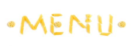 макаронные изделия меню формируют слово Стоковые Фото