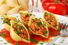 макаронные изделия мяса Стоковая Фотография