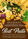 Макаронные изделия от итальянского плаката кухни с приправами бесплатная иллюстрация