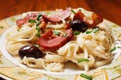 макаронные изделия тарелки детали Стоковая Фотография RF