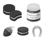 Макаронные изделия шоколада, печенье, клубника в шоколаде, гамбургере Десерты шоколада установили значки собрания в monochrome Стоковые Изображения RF