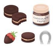 Макаронные изделия шоколада, печенье, клубника в шоколаде, гамбургере Значки собрания шоколада установленные десертами в стиле ша Стоковые Изображения
