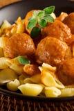 макаронные изделия meatballs Стоковая Фотография