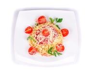 Макаронные изделия с томатным соусом Стоковая Фотография