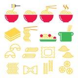 Макаронные изделия, лапши, спагетти - итальянские установленные значки еды Стоковое Изображение