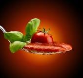 Макаронные изделия базилика и томатный соус Стоковые Фото
