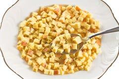 Макаронные изделия в супе, типичном блюде эмилия-Романьи, Италии, на белой предпосылке Стоковые Фотографии RF
