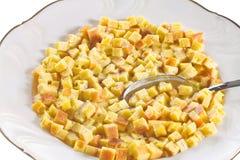 Макаронные изделия в супе, типичном блюде эмилия-Романьи, Италии, на белой предпосылке Стоковое Изображение RF