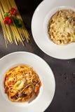Макаронные изделия гриба и морепродуктов Стоковое Изображение