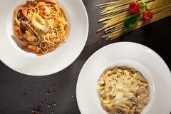 Макаронные изделия гриба и морепродуктов Стоковое Фото