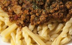 Макаронные изделия Gemelli с мясом индюка земным стоковое фото rf