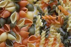 Макаронные изделия Tricolors, итальянские макаронные изделия, регулярн макаронные изделия, мини макаронные изделия раковин, Стоковые Фото