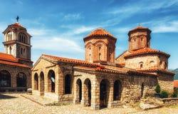 Македония, озеро Ohrid, правоверный монастырь St Naum 10th Centu Стоковое фото RF