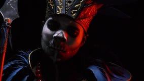 Макияж Африка хеллоуина, шаман сток-видео