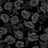 Маки Предпосылка вектора безшовная в винтажном стиле Картина завода Ботанический чертеж Черная предпосылка иллюстрация штока