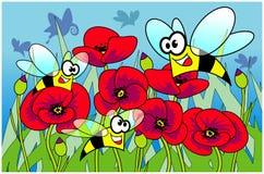 маки пчел Стоковая Фотография