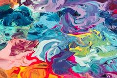 Макрос близкий вверх краски масла другого цвета красочный acrylic Концепция современного искусства стоковые изображения