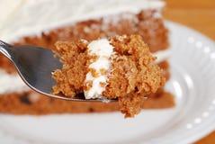 макрос вилки моркови торта Стоковые Фото