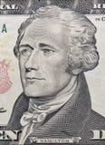 Макрос Гамильтона на долларовой банкноте 10 Стоковое Фото