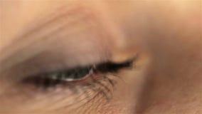 Макрос глаза девушки женщины смотря монитор, онлайн сток-видео