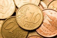 макрос евро монетки цента Стоковое фото RF