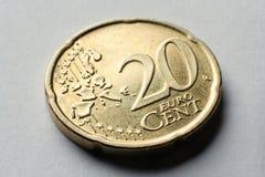 макрос евро монетки 20 центов Стоковое Фото
