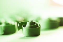 Макрос, конспект, изображение предпосылки зеленой книги закручивает в спираль стоковая фотография rf