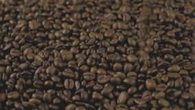 макрос кофе завтрака фасолей идеально изолированный над белизной Руки разбросали кофейные зерна Качество зерна зажаренное в духов сток-видео