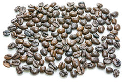 макрос кофе завтрака фасолей идеально изолированный над белизной Стоковое фото RF