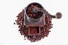 макрос кофе завтрака фасолей идеально изолированный над белизной Стоковое Фото