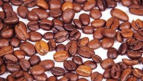 макрос кофе завтрака фасолей идеально изолированный над белизной Конец-вверх Вдоль кофейных зерен Плавать над зажаренным кофе акции видеоматериалы