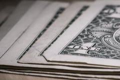 Макрос крупного плана долларовой банкноты США одного, 1 usd банкноты, денег Соединенных Штатов Стоковая Фотография