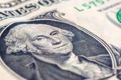 Макрос крупного плана долларовой банкноты США одного, 1 usd банкноты, стирки Джордж Стоковое Изображение