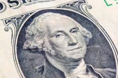 Макрос крупного плана долларовой банкноты США одного, 1 usd банкноты, стирки Джордж Стоковое фото RF