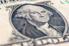Макрос крупного плана долларовой банкноты США одного, 1 usd банкноты, стирки Джордж Стоковая Фотография RF
