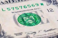 Макрос крупного плана долларовой банкноты США одного, 1 usd банкноты, стирки Джордж Стоковые Фотографии RF