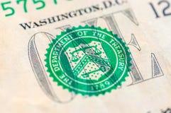 Макрос крупного плана долларовой банкноты США одного, 1 usd банкноты Стоковые Фото