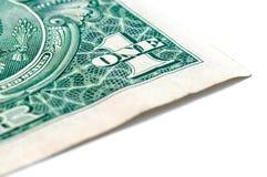 Макрос крупного плана долларовой банкноты США одного, 1 usd банкноты Стоковое фото RF